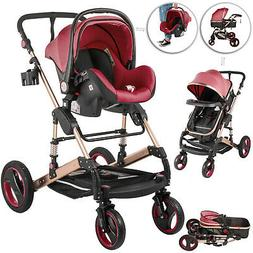 3 In 1 Luxury Baby Stroller Pushchair Foldable Buggy Infant