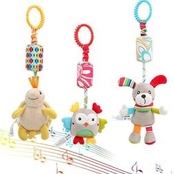 Daisy 3 Packs Infant Hanging Rattle, Soft Baby Wind Chimes h