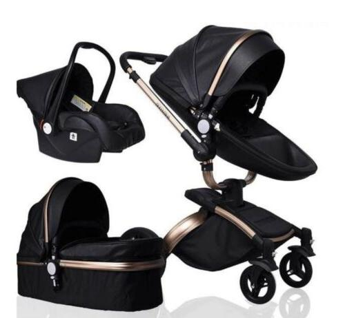 Leather Stroller With Car Bassinet. 360 Rotation, Push