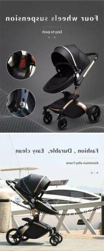Leather Car Bassinet. 360 Rotation, To Push