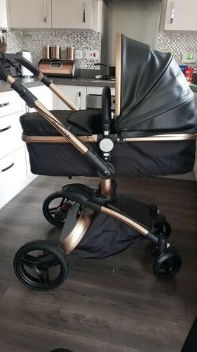 Leather Car And Bassinet. 360 To Push