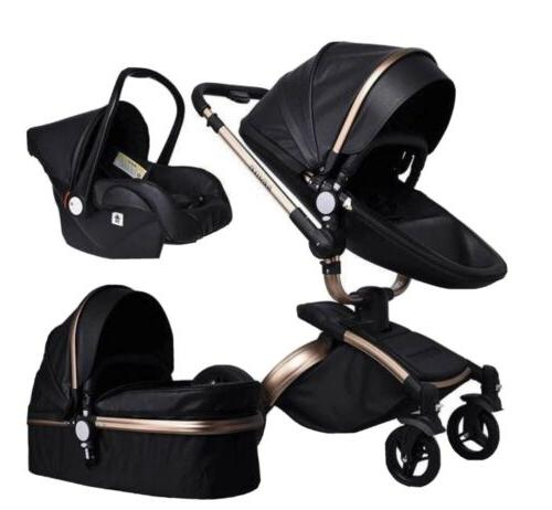 leather baby stroller with car seat