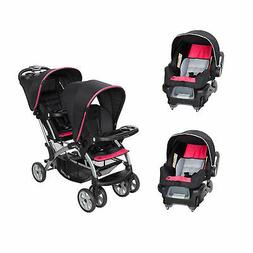 Baby Trend Sit N' Stand Double Stroller with 2 Infant Car Se