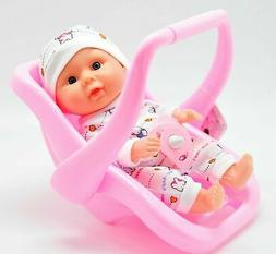Small Talking Baby Doll + Carrier Car Seat Girl Pink Toy Sea