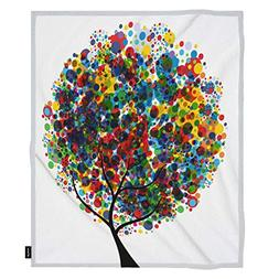 oFloral Tree Throw Blanket Multicolor Bubble Leaves Nuture B